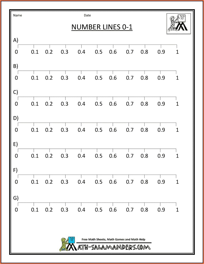 Number Line With Decimals Worksheet