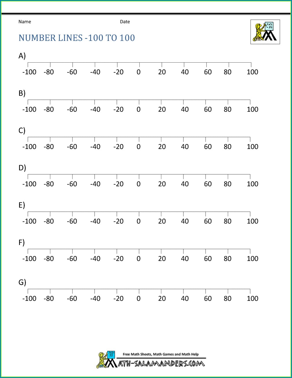 Number Line With Negative Numbers Up To 20