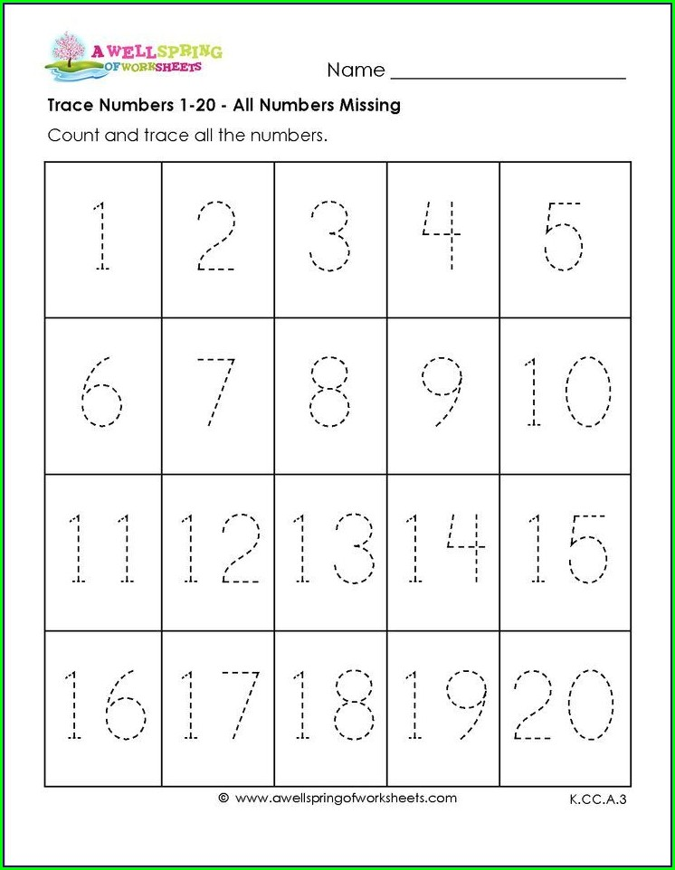 Number Tracing Worksheet For Preschool