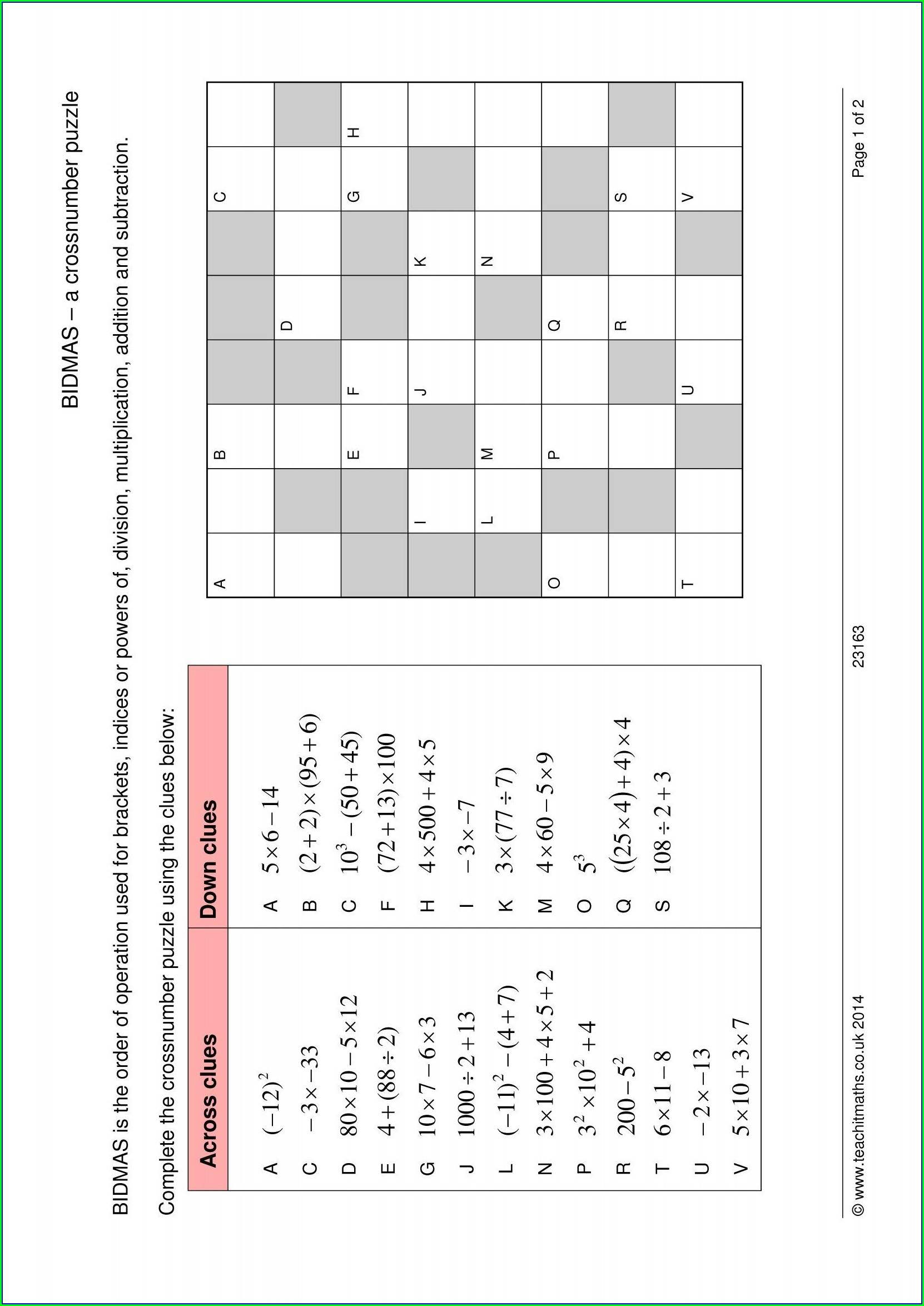 Order Of Operations Crossword Puzzle Worksheet