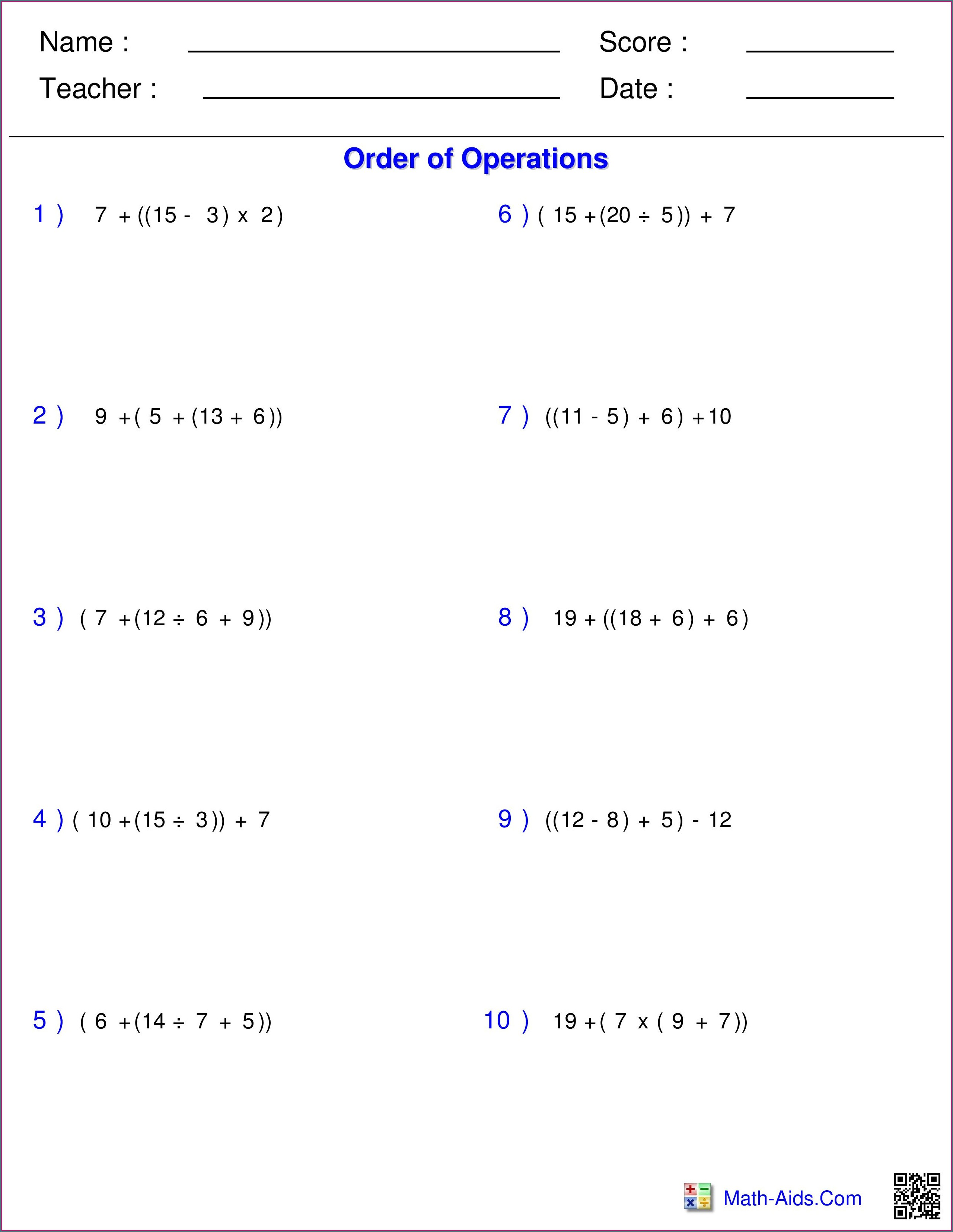 Order Of Operations Worksheet Grade 9