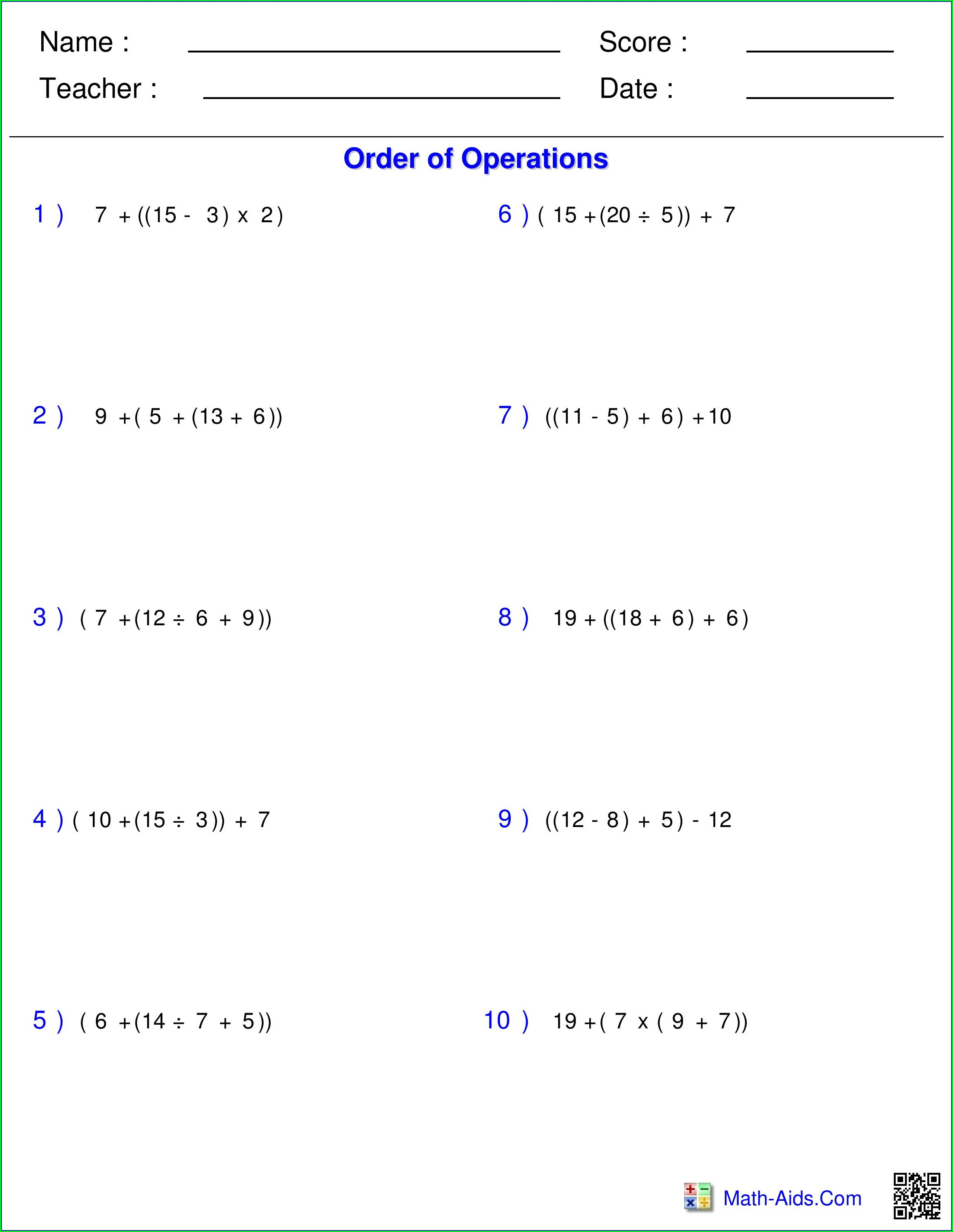 Order Of Operations Worksheet Pdf 4th Grade