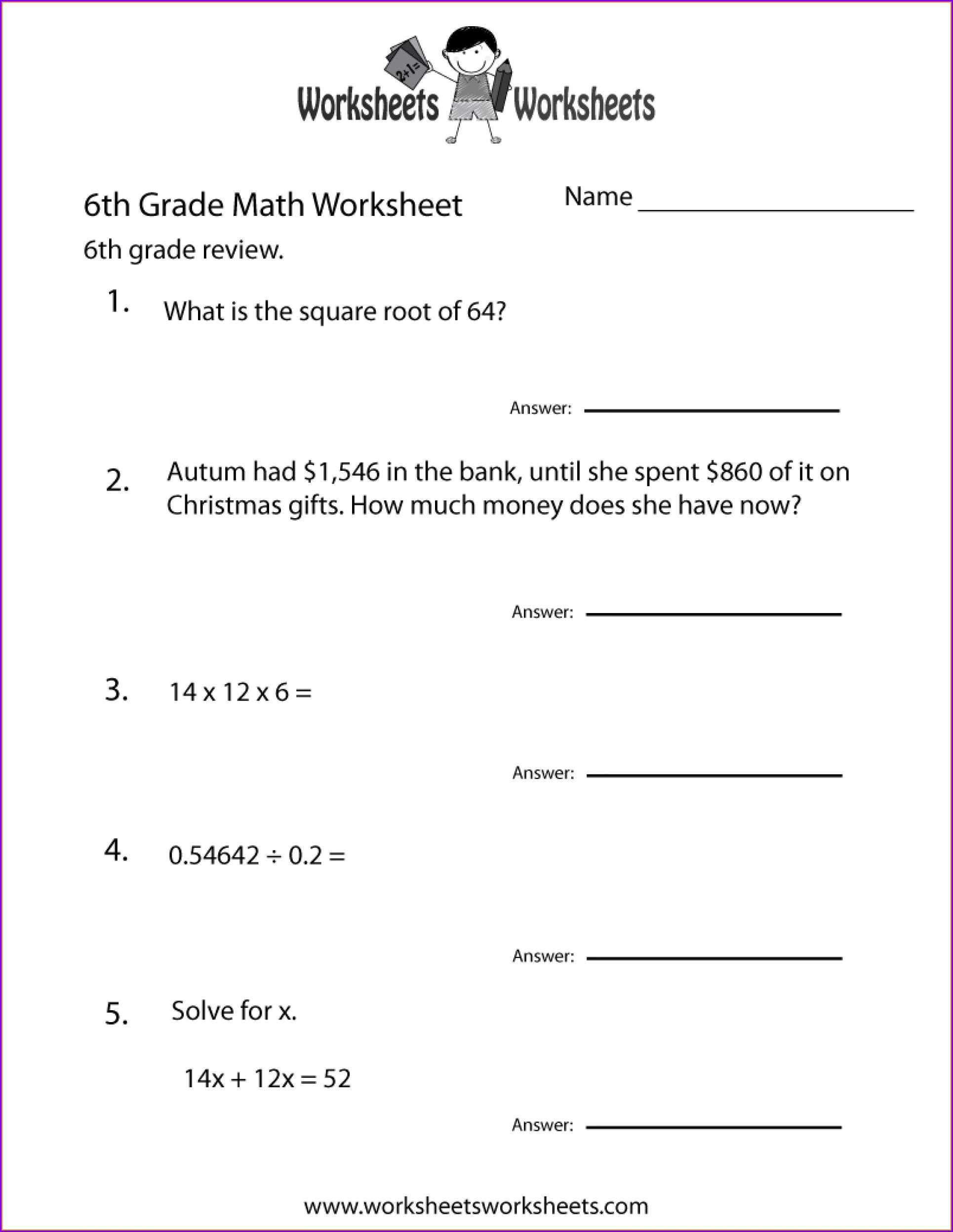 Order Of Operations Worksheet Sixth Grade