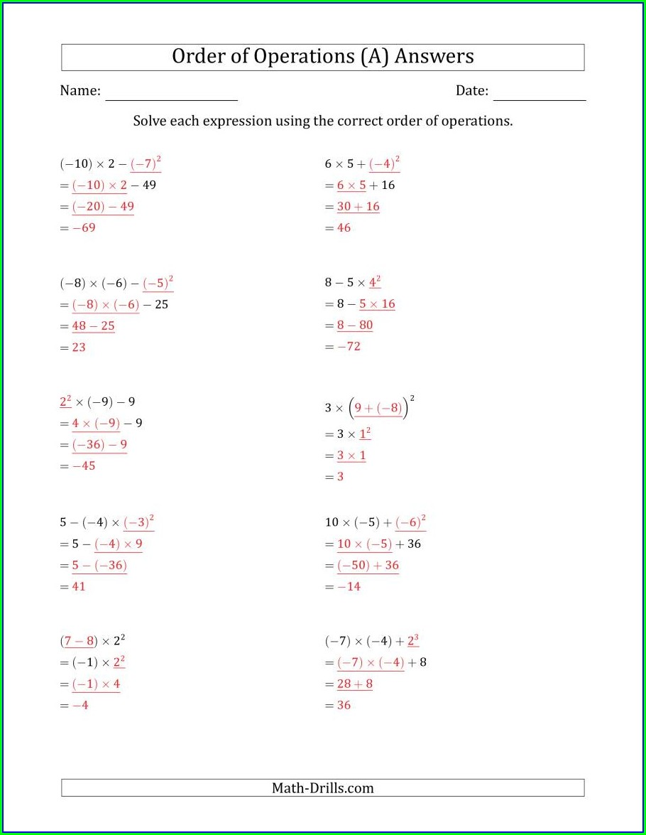 Order Of Operations Worksheets To Print