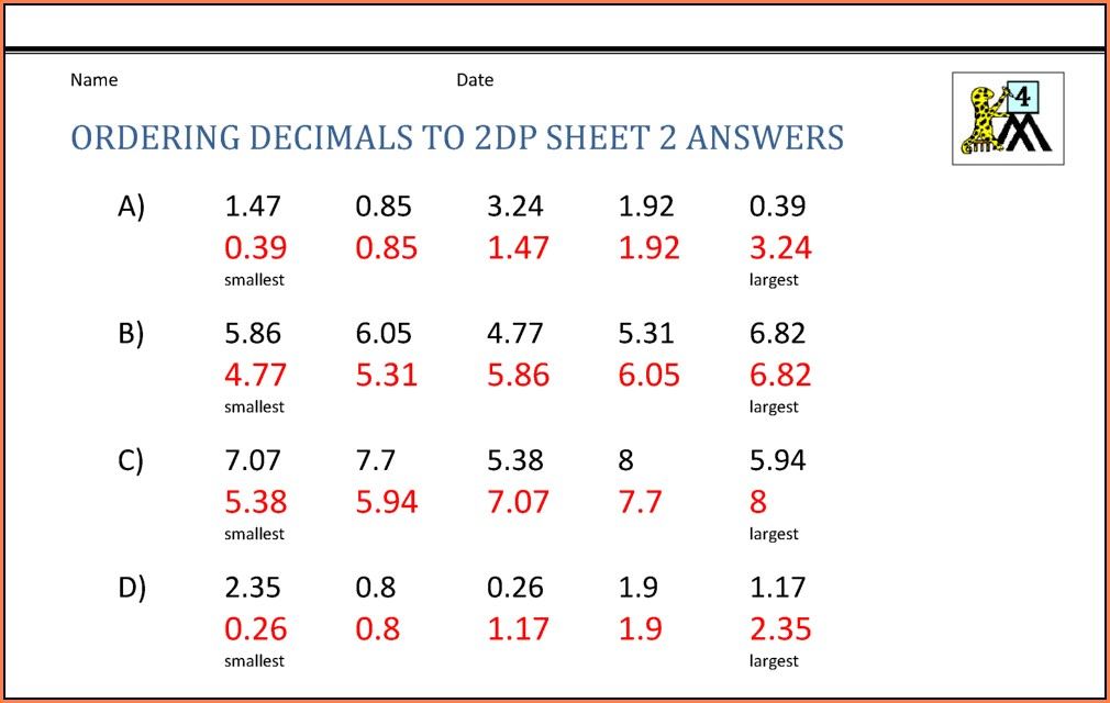 Ordering Fractions Decimals And Percents Worksheet