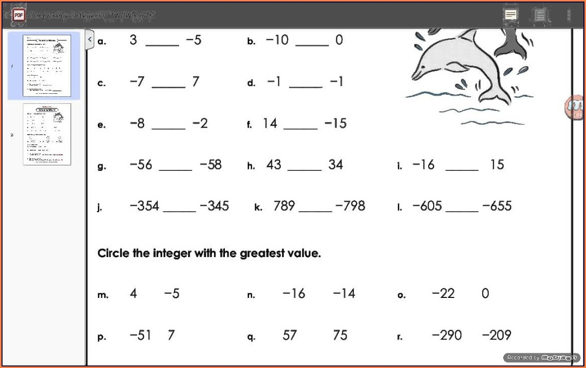 Ordering Negative Numbers Worksheet Pdf