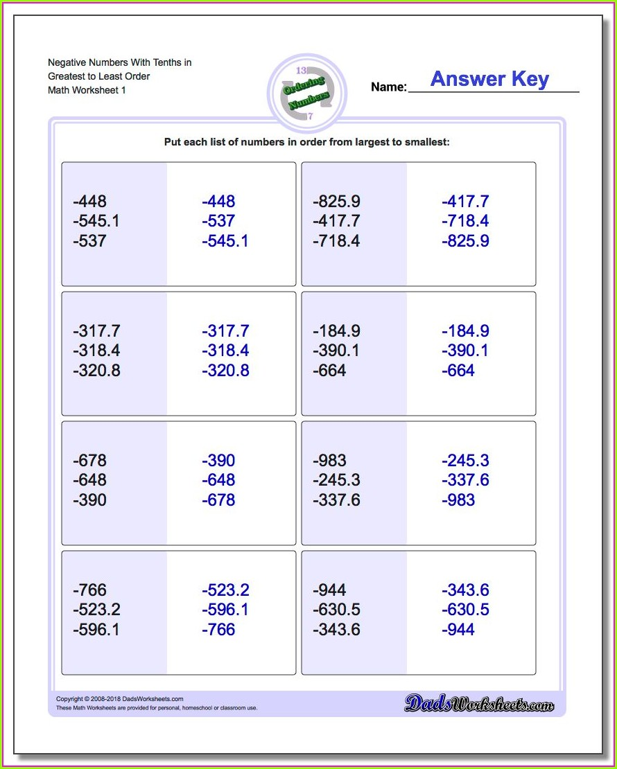 Ordering Numbers Worksheet Year 6