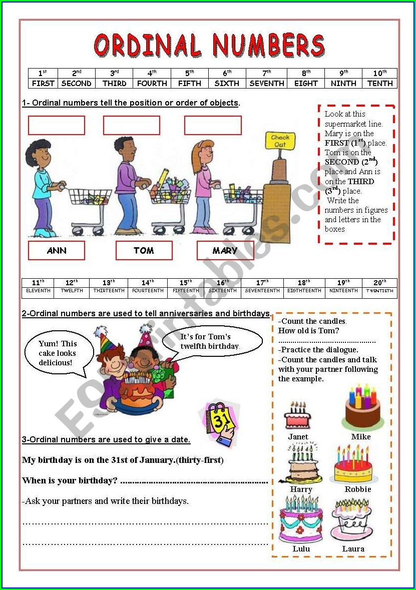 Ordinal Numbers Beginners Exercises