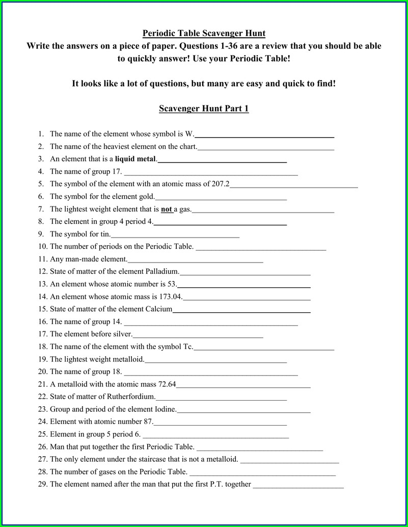 Periodic Table Research Worksheet Answers