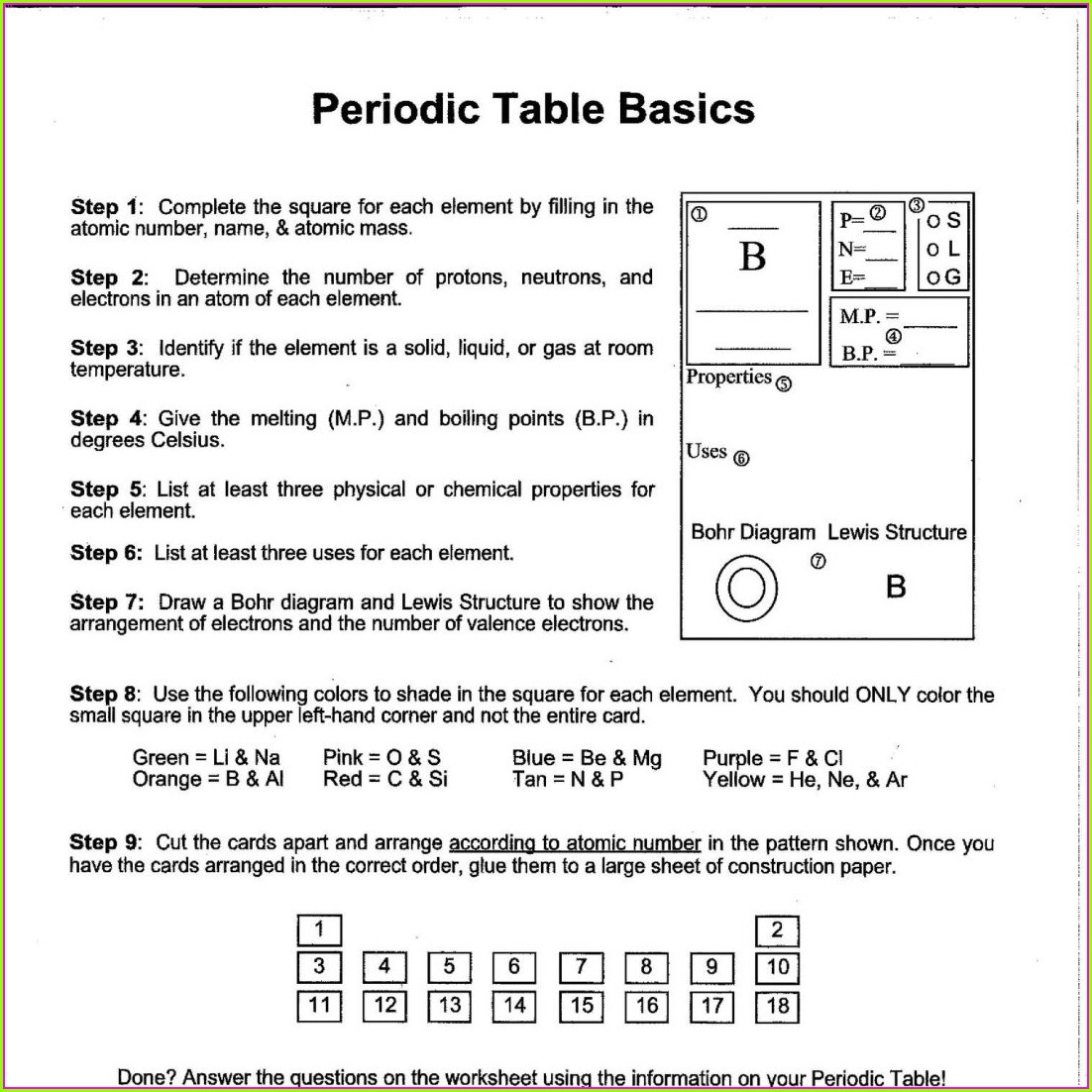 Periodic Table Trends Worksheet Pdf