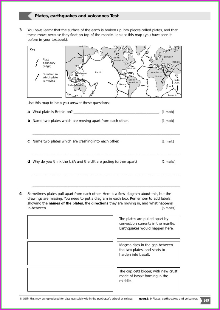 Plate Tectonics Worksheet 8th Grade Answer Key