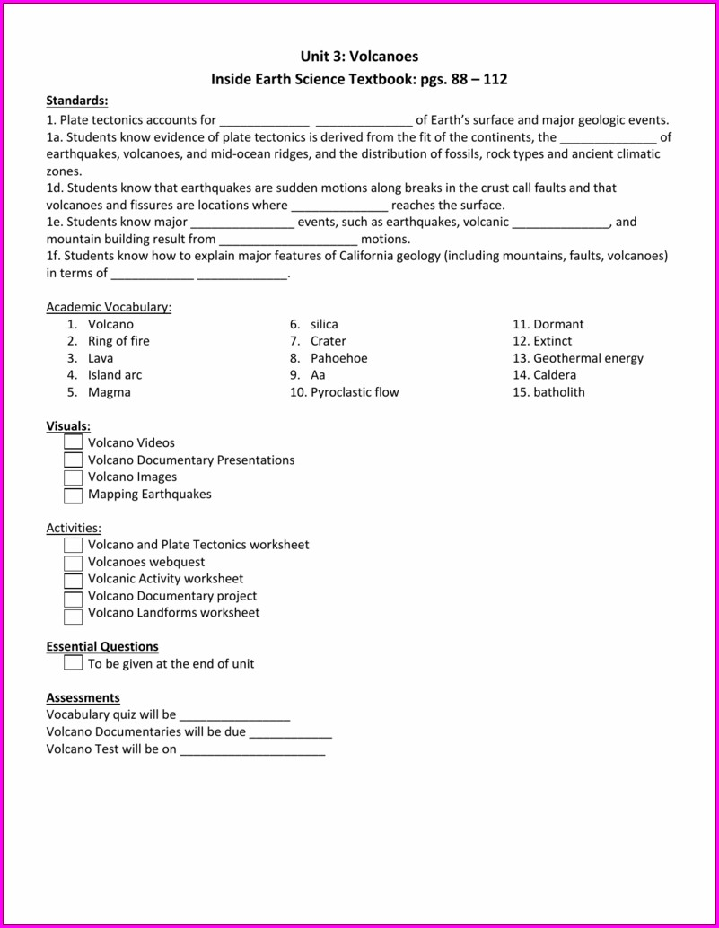 Plate Tectonics Worksheets For 6th Grade