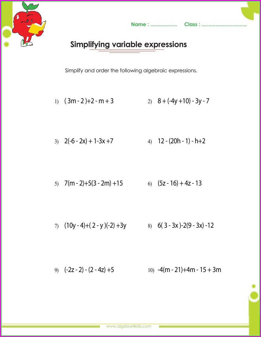 Polynomials Grade 9 Worksheets With Answers