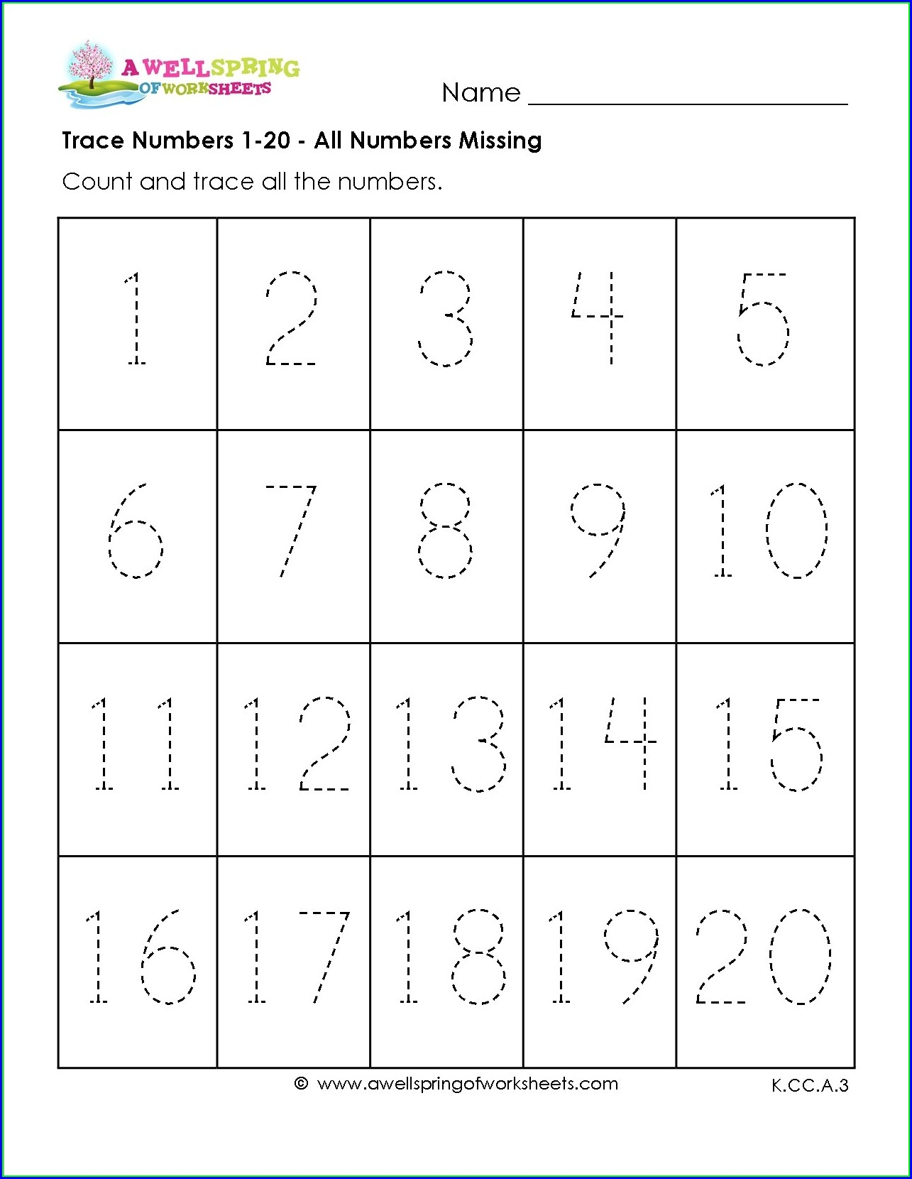 Preschool Number Worksheets 11 20