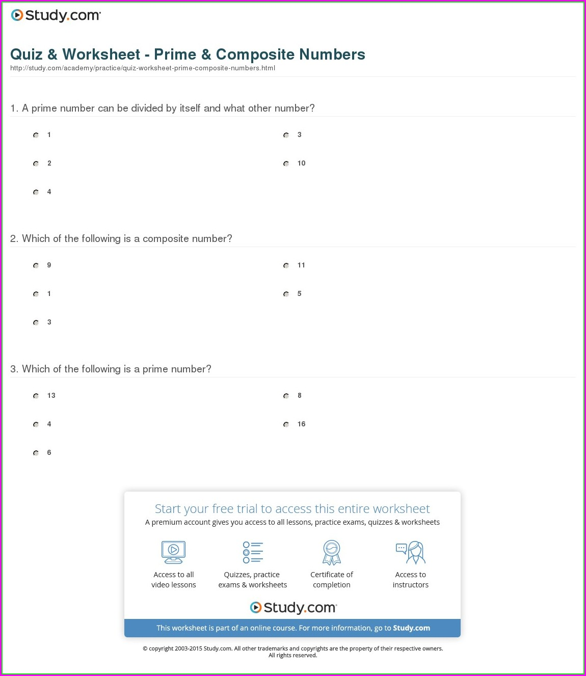 Prime And Composite Numbers Worksheet Grade 6