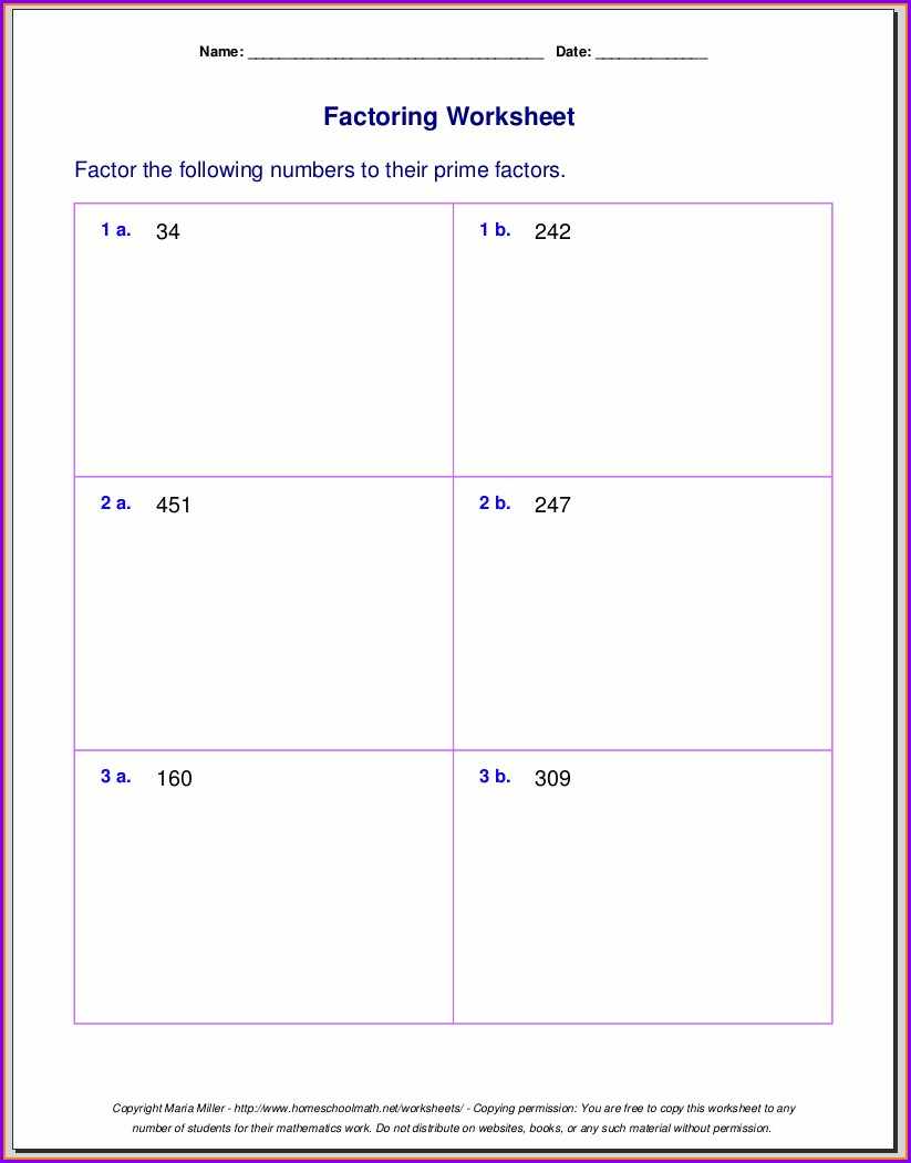 Prime Number Worksheet 4th Grade
