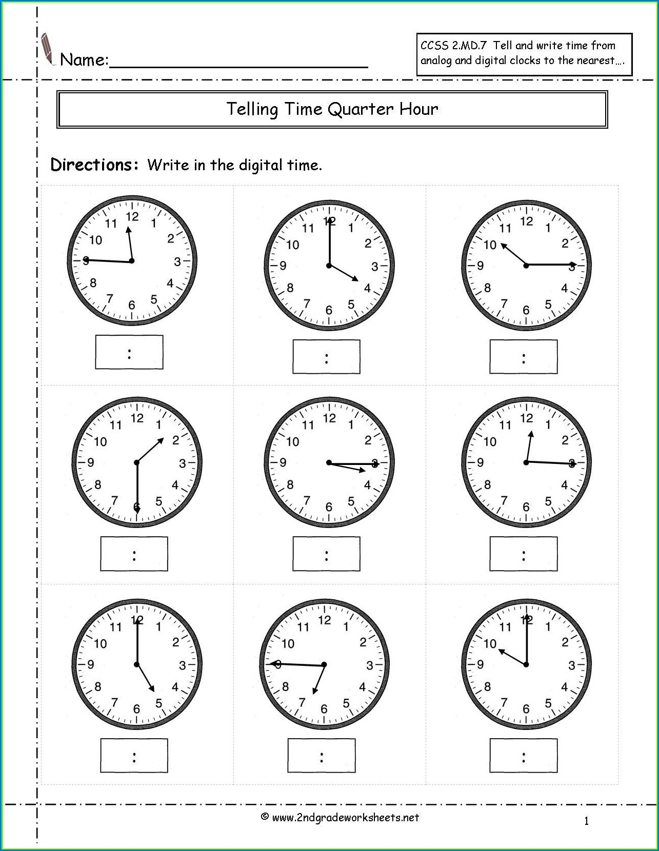Printable 2nd Grade Clock Worksheets