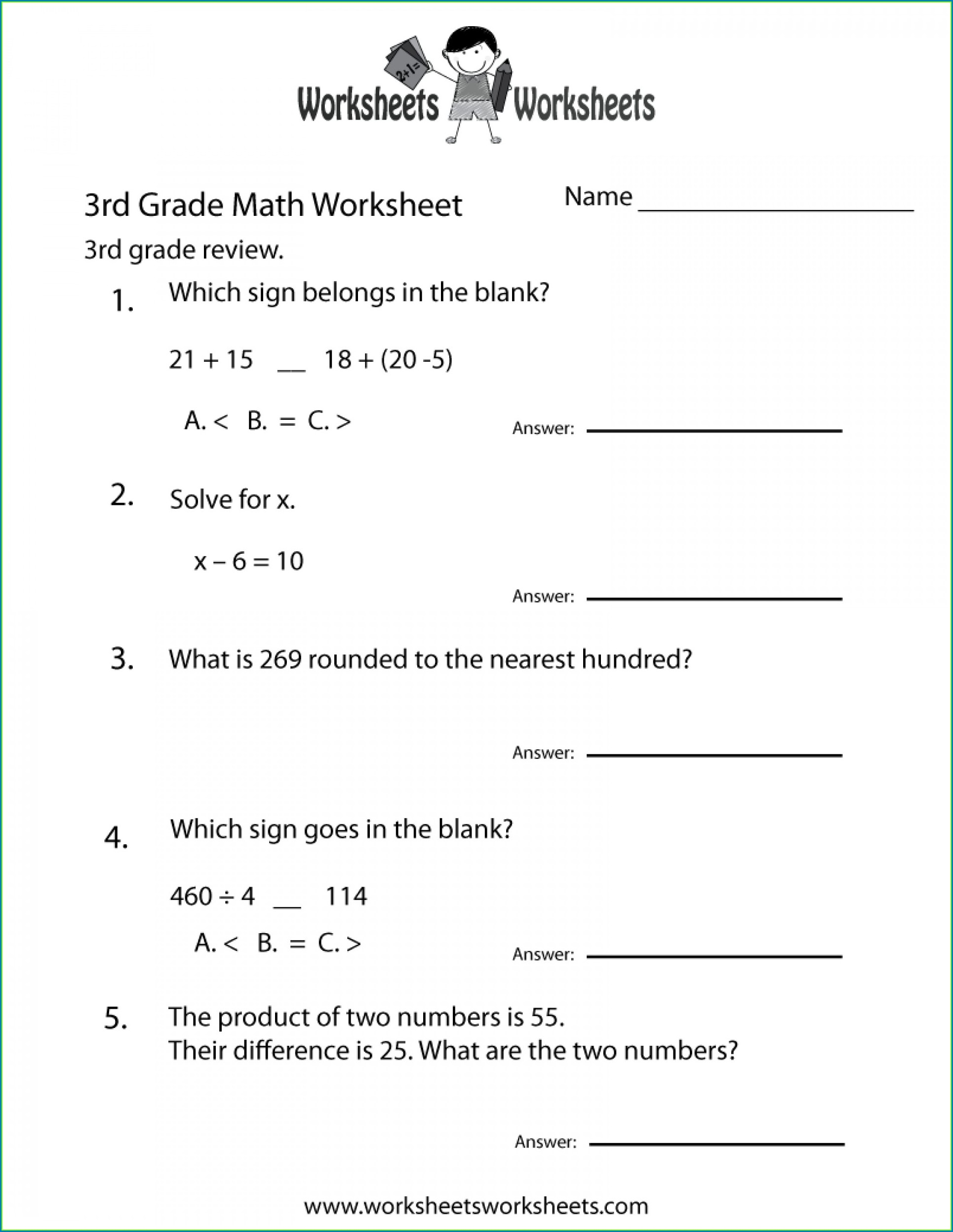 Printable 3rd Grade Math Word Problems Worksheets Pdf