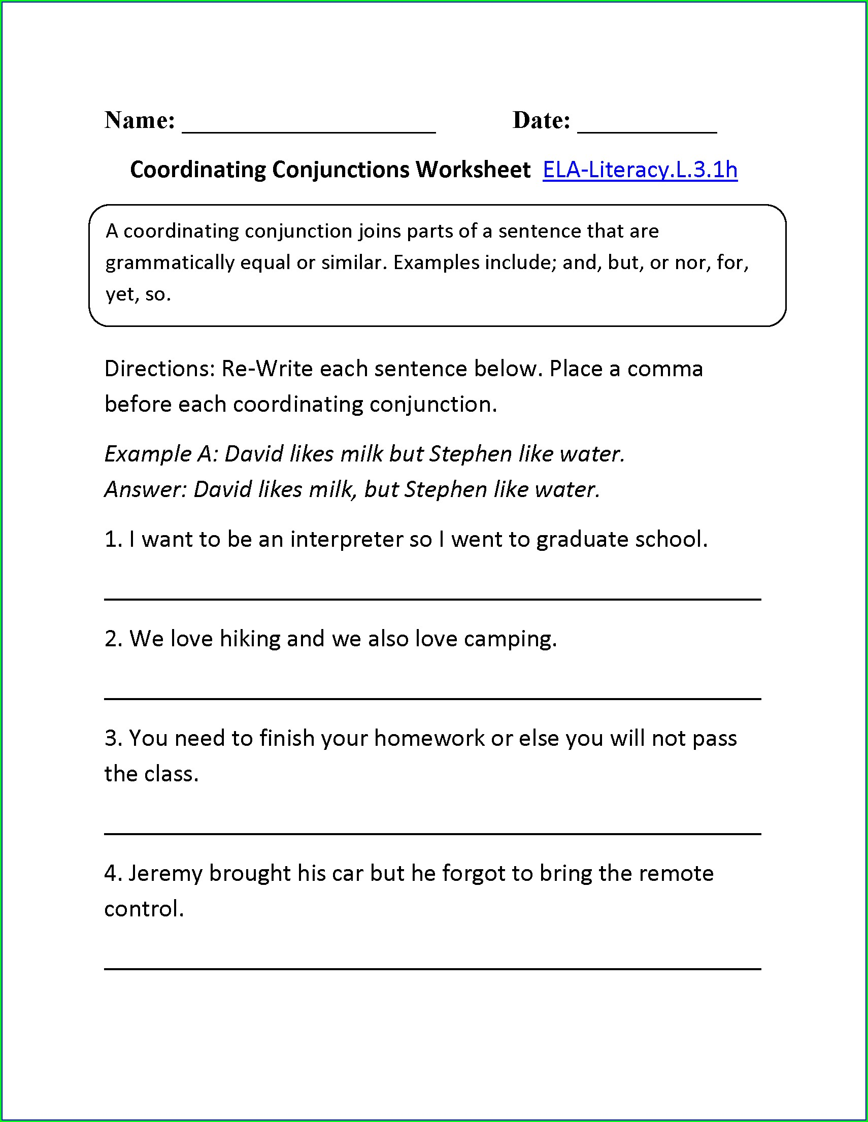 Printable Conjunction Worksheet For Class 3