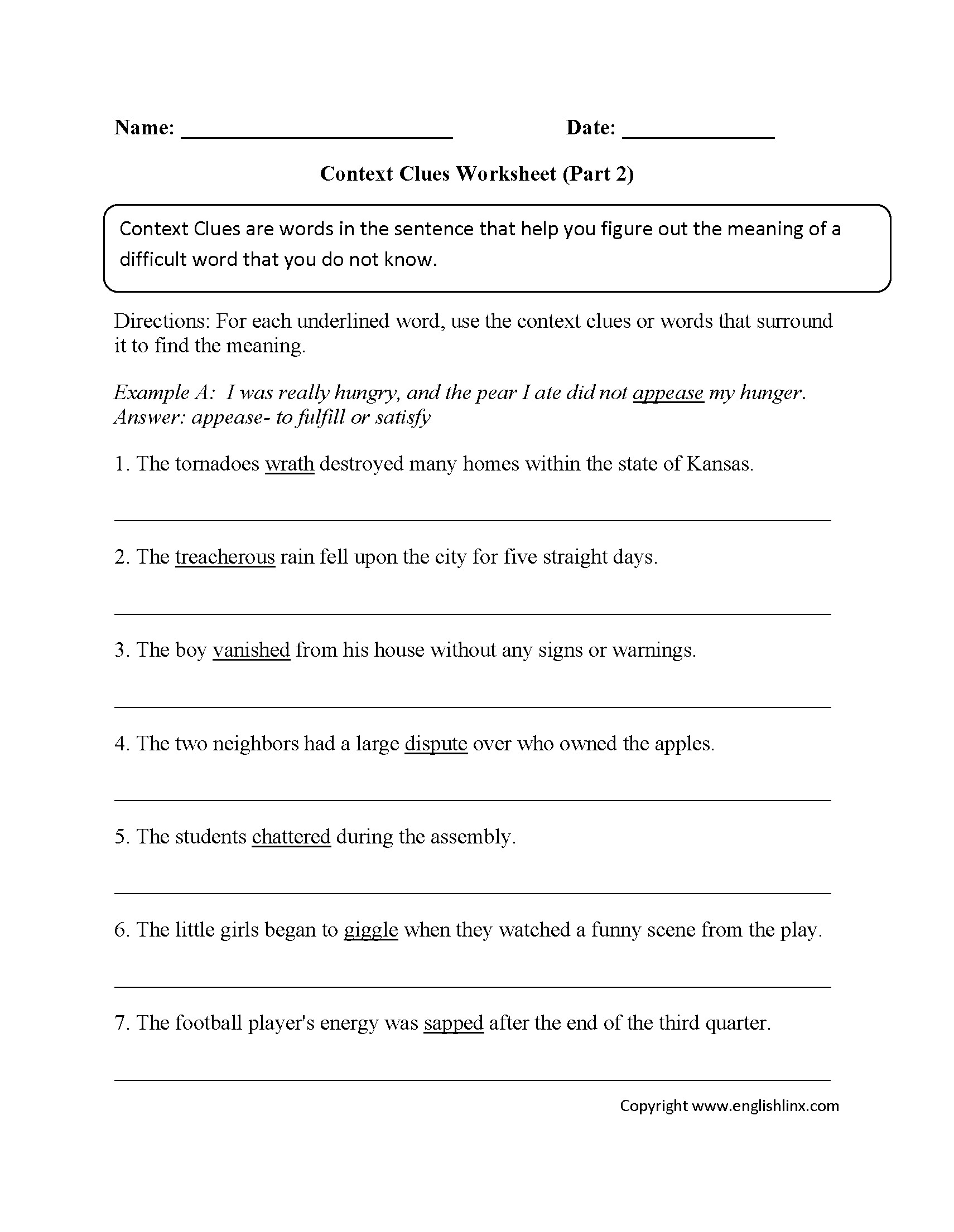 Printable Context Clues Worksheets 2nd Grade Pdf