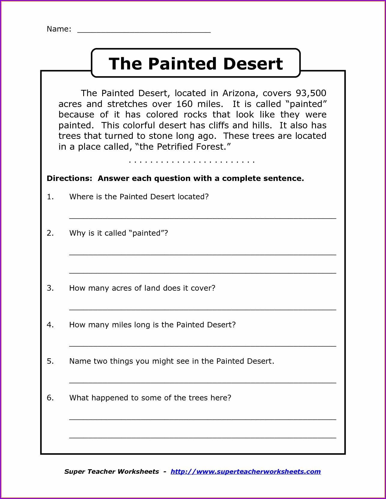 Printable English Worksheet For Grade 6