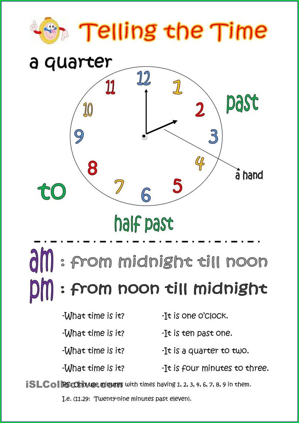 Printable Esl Telling Time Worksheets