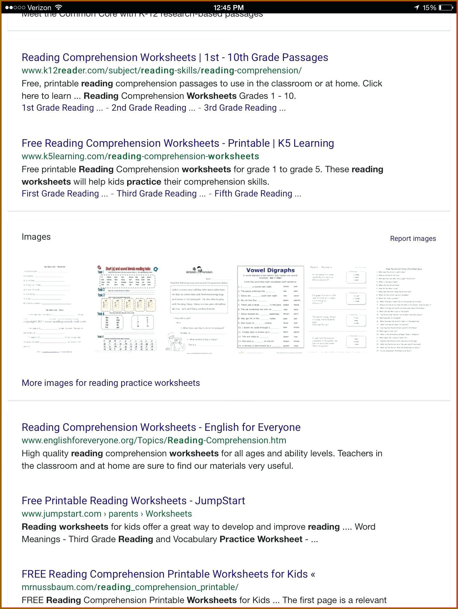 Printable Grade 1 Reading Worksheets