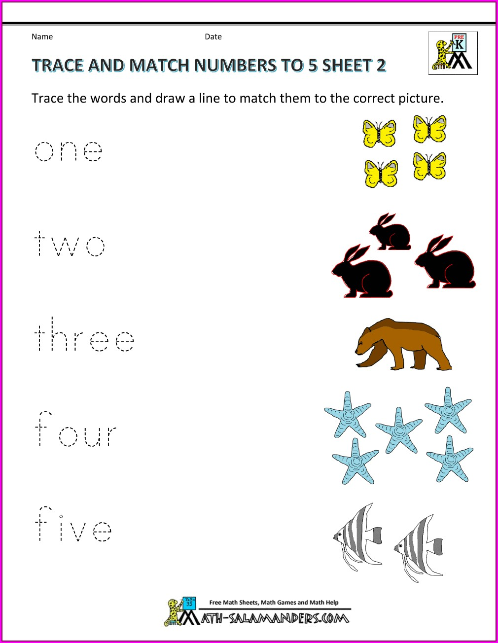 Printable Matching Numbers To Words Worksheet