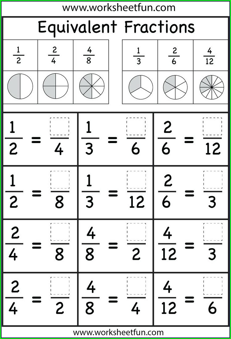 Printable Math Games On Fractions