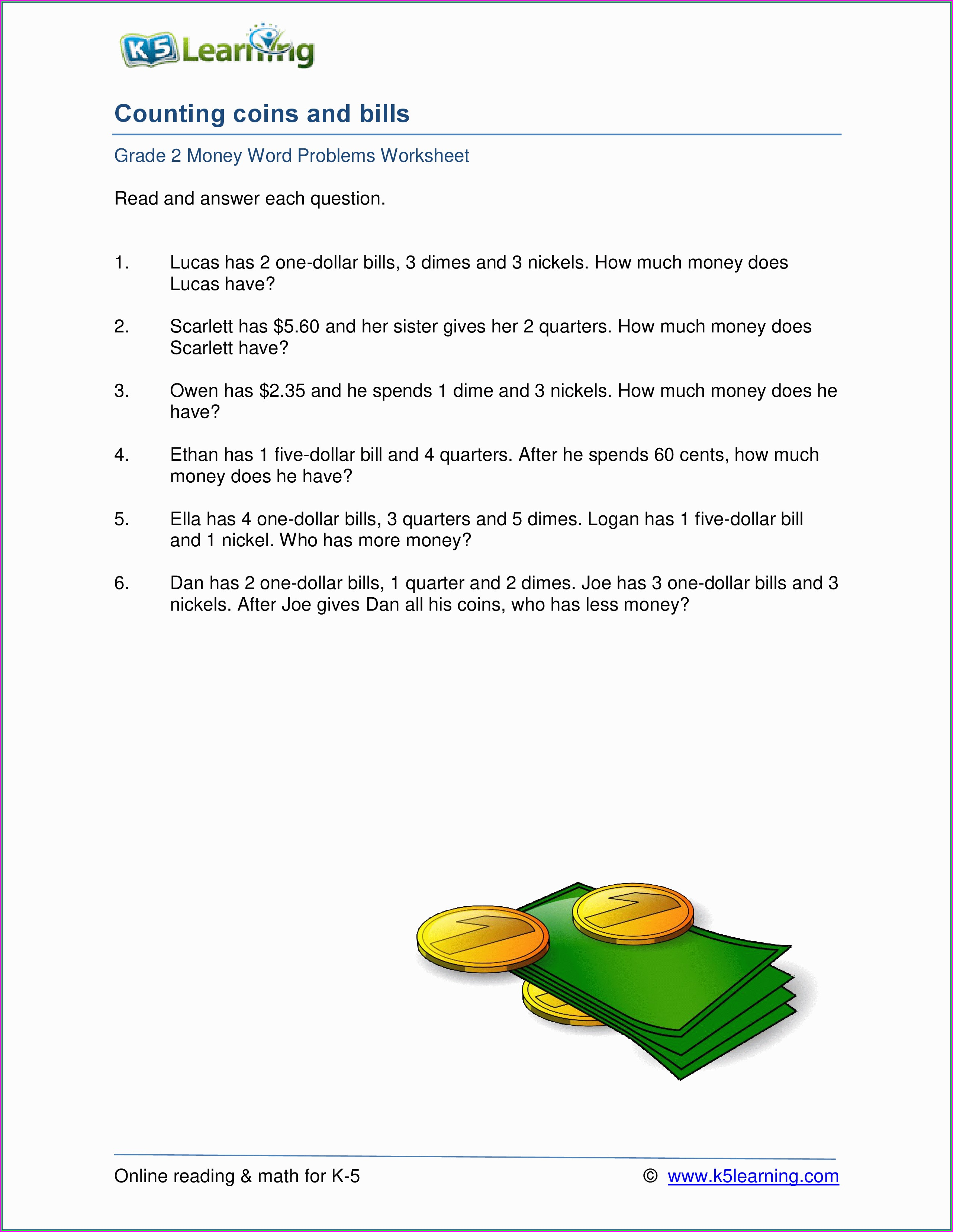 Printable Math Worksheets Grade 2 Word Problems