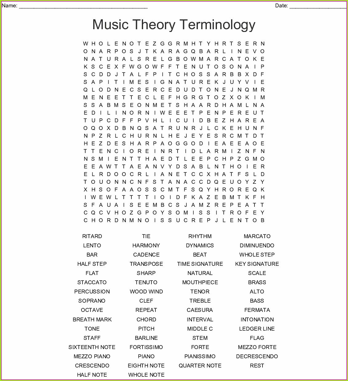 Printable Music Terms Word Search