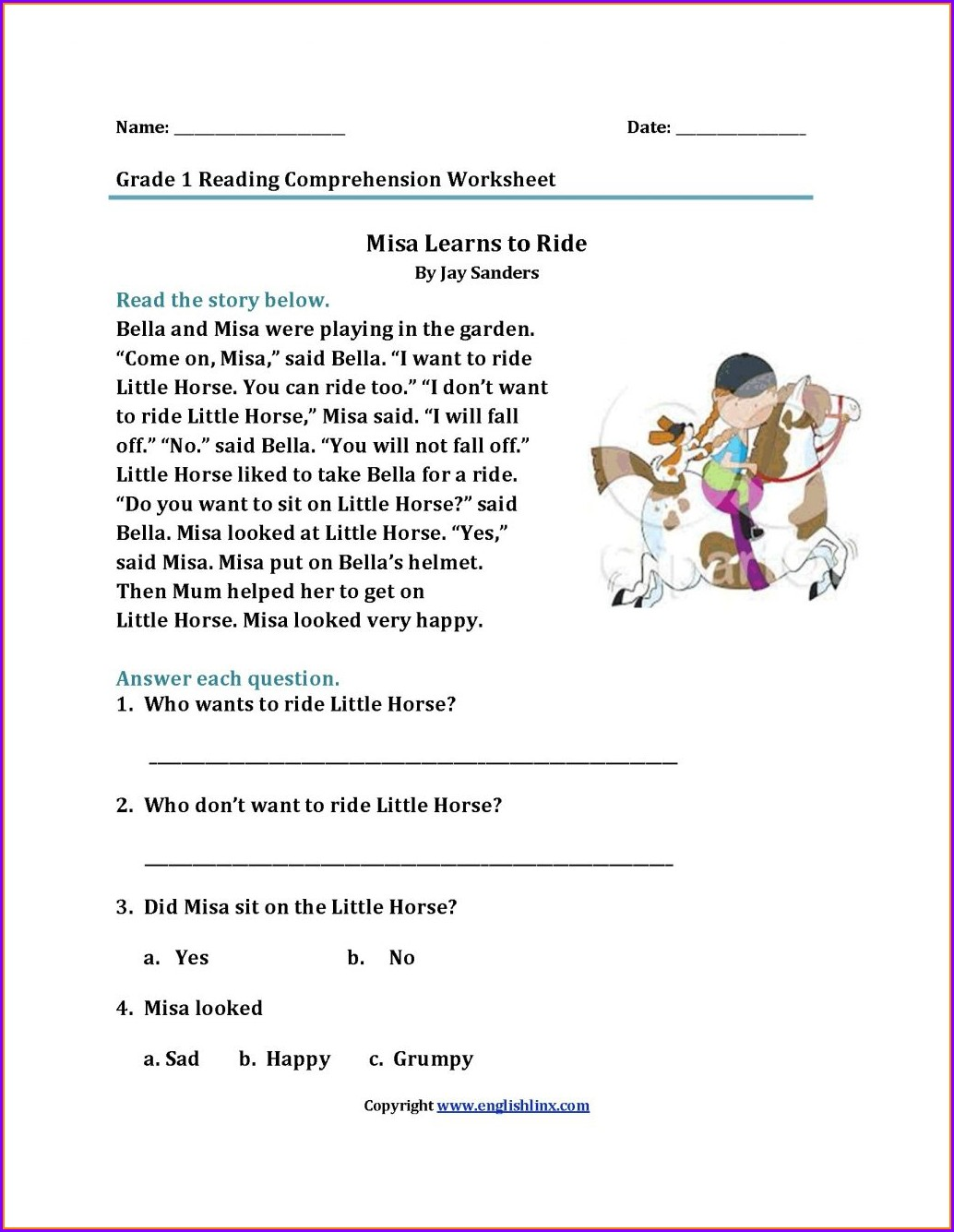Printable Reading Comprehension Test For Grade 1