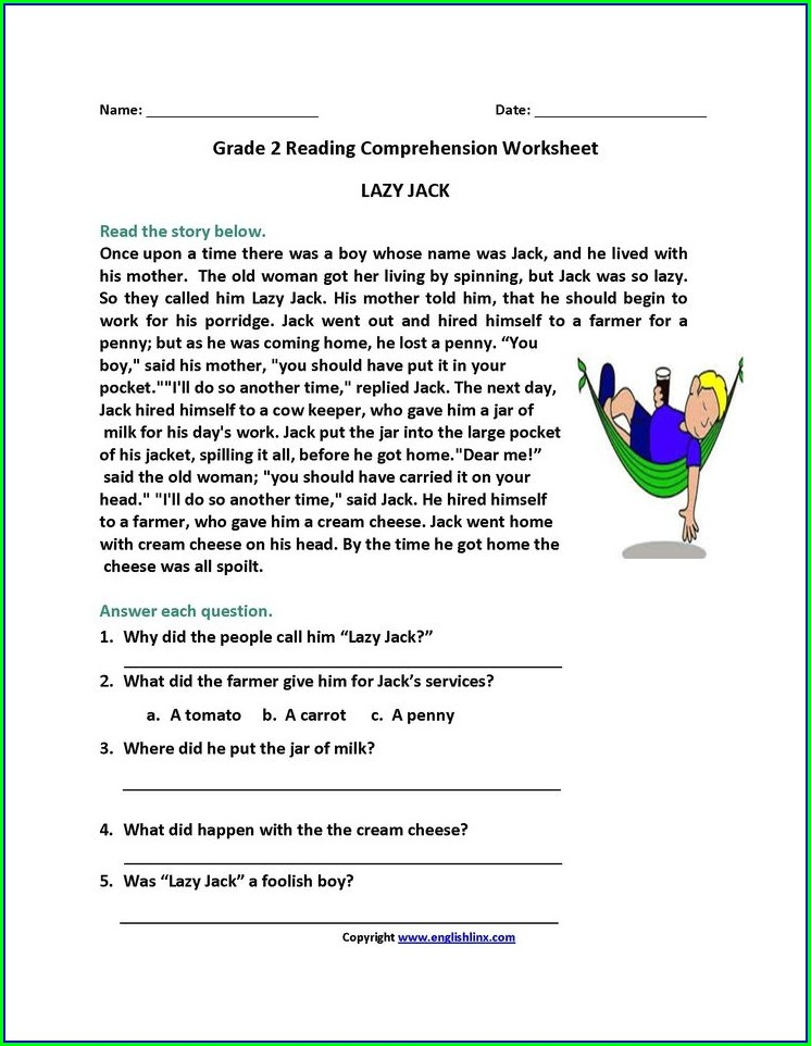 Printable Reading Comprehension Worksheets For 2nd Graders