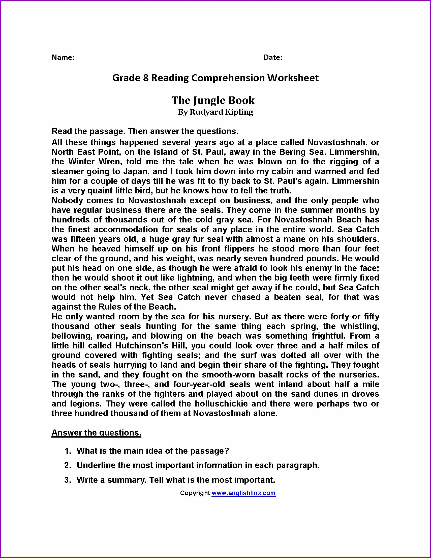 Printable Reading Comprehension Worksheets For 8th Grade