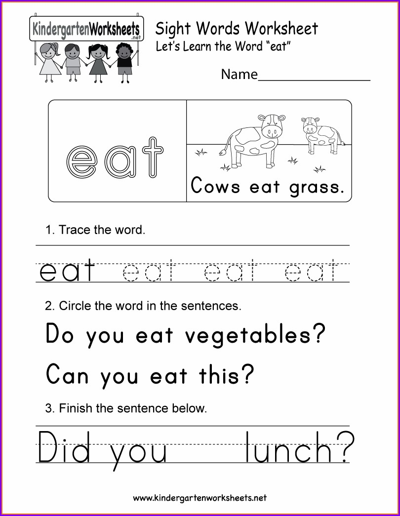 Printable Sight Word Can Worksheet