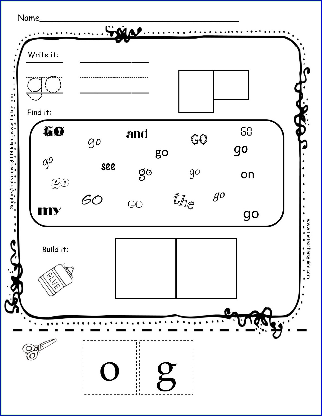 Printable Sight Word We Worksheet