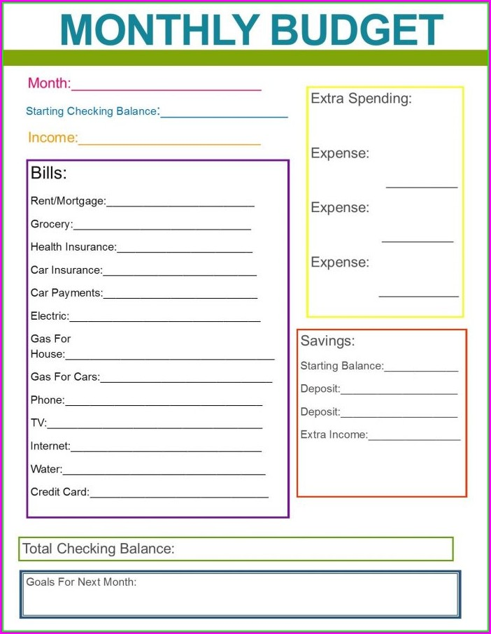 Printable Simple Family Budget Worksheet