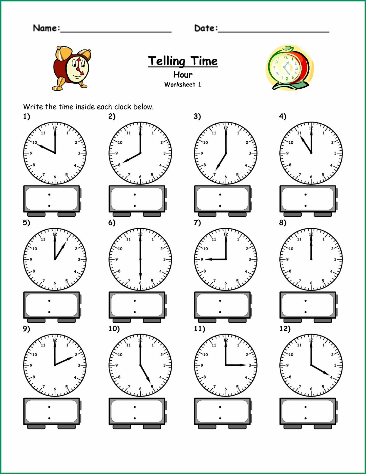 Printable Teaching Time Clock Worksheets