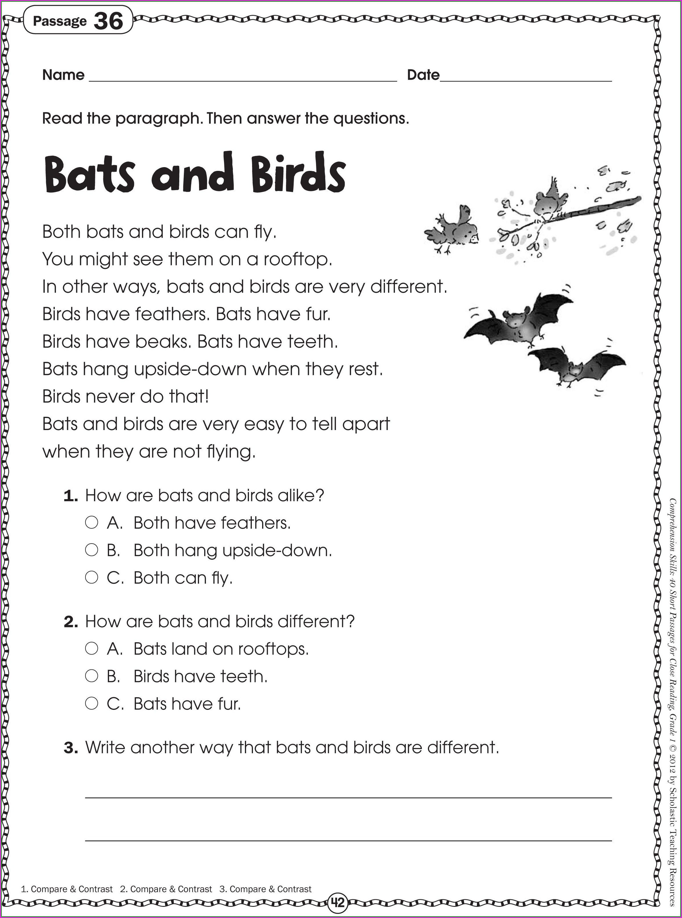 Printable Worksheet For Grade 2