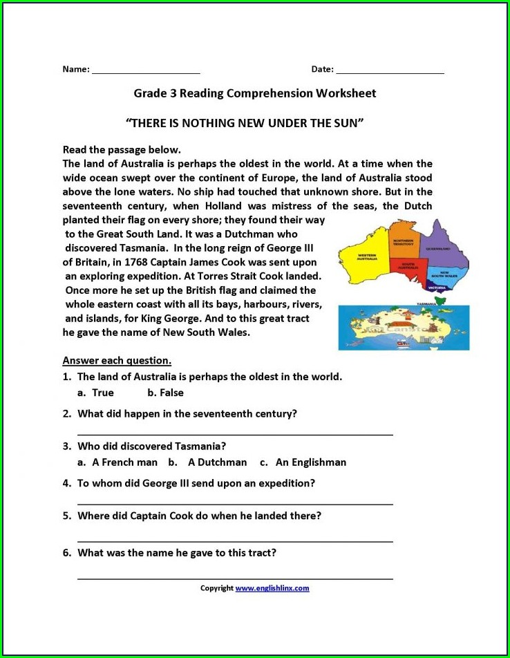 Printable Worksheets For 8th Grade Reading Comprehension