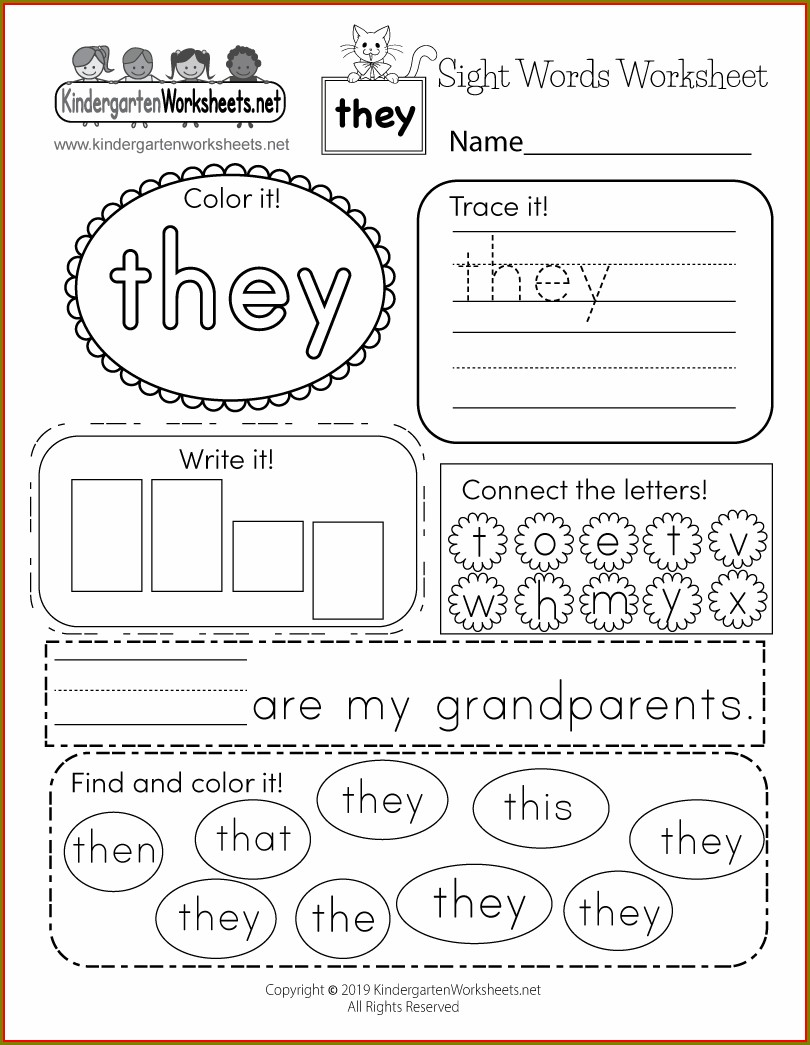 Printable Worksheets For Kindergarten Sight Words
