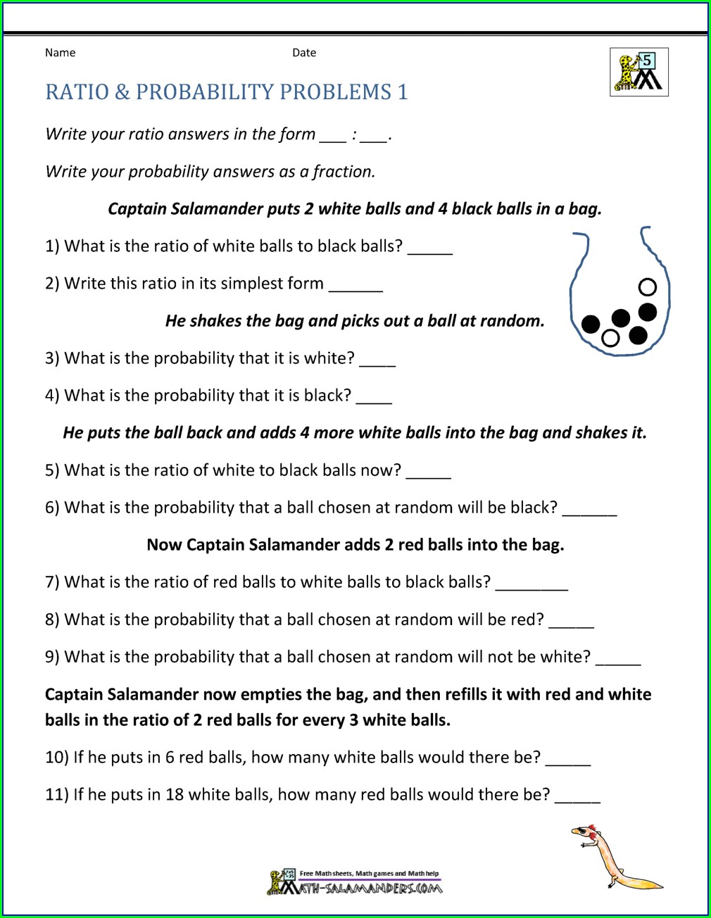 Probability Word Problems Worksheet With Answers