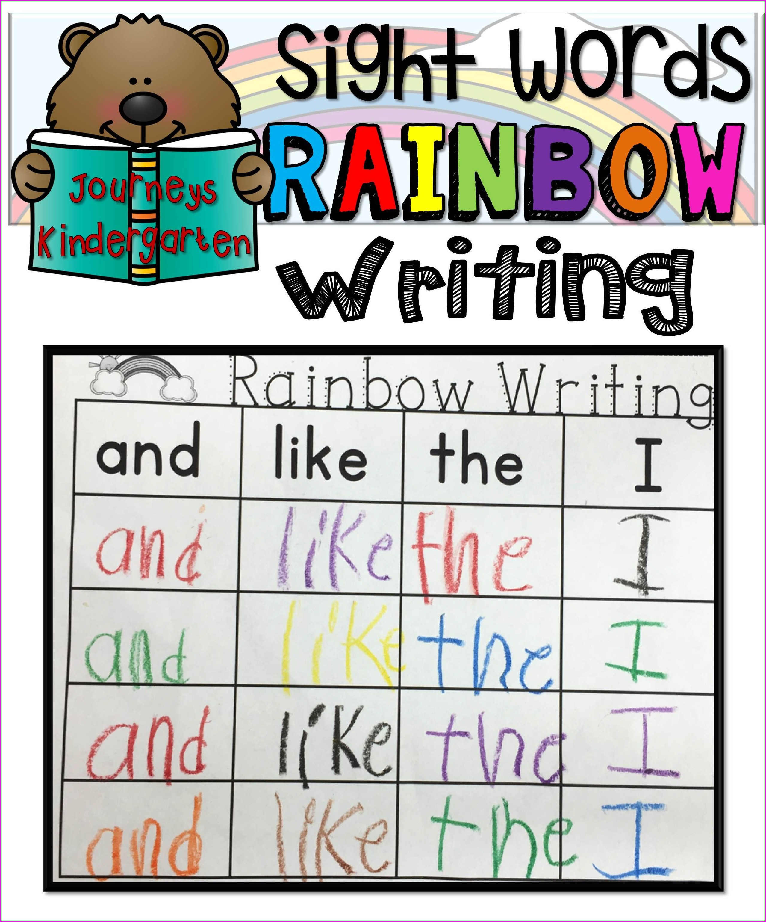 Rainbow Writing Sight Words Worksheets