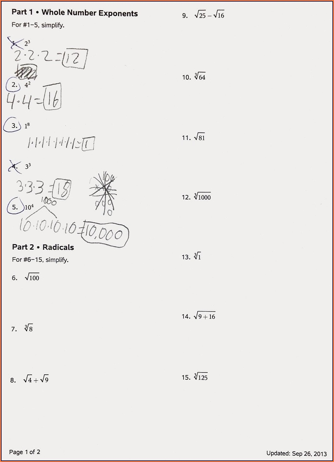 Rational Number Exponents Worksheet