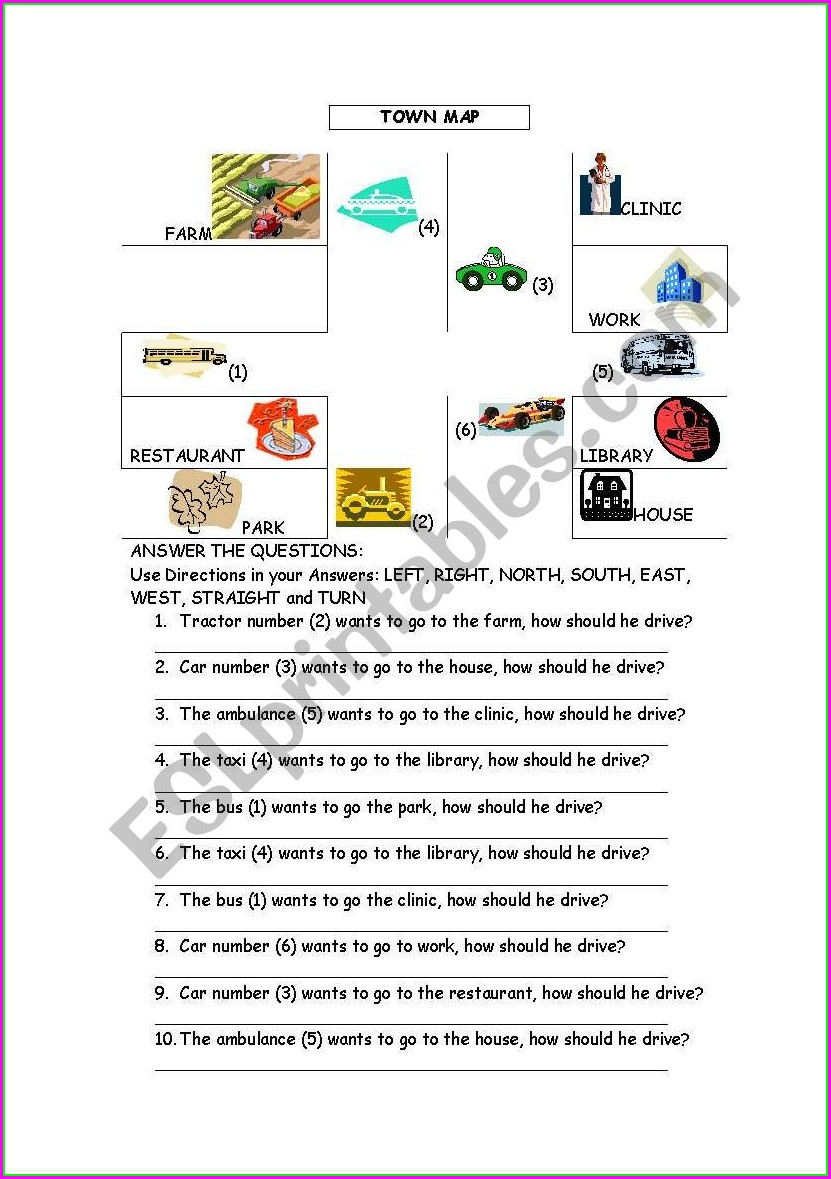 Reading A Map Worksheet Esl