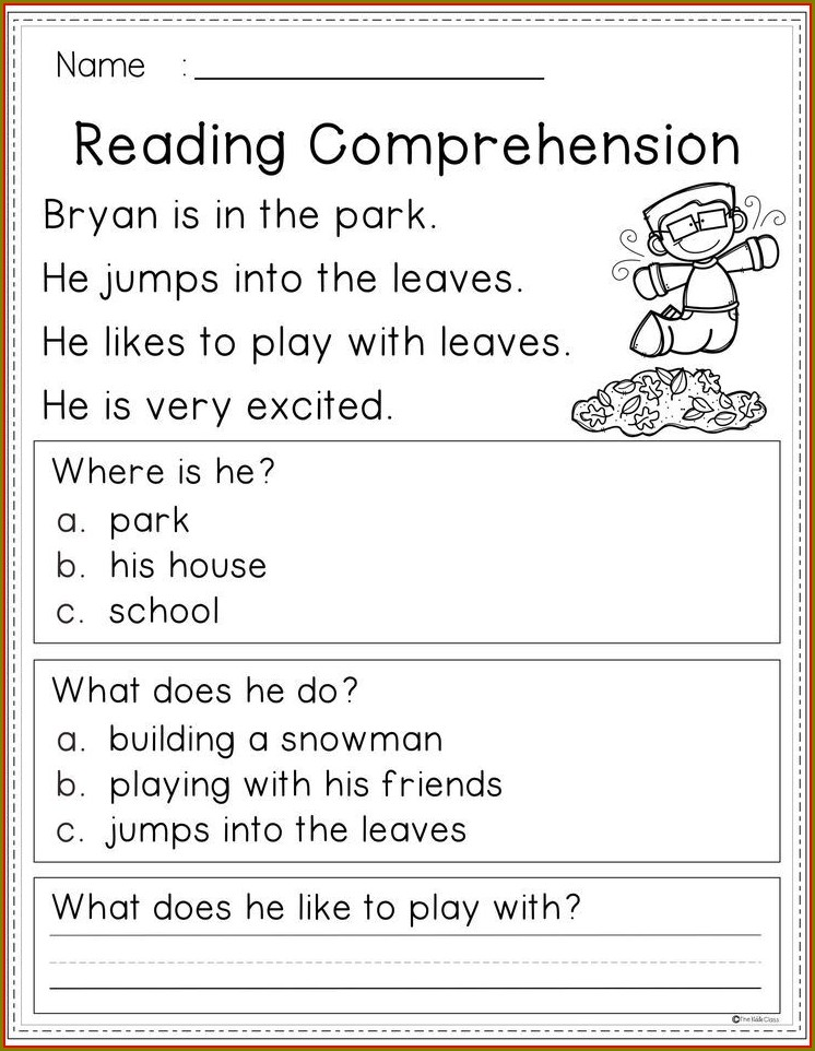 Reading Comprehension First Grade Worksheets Free