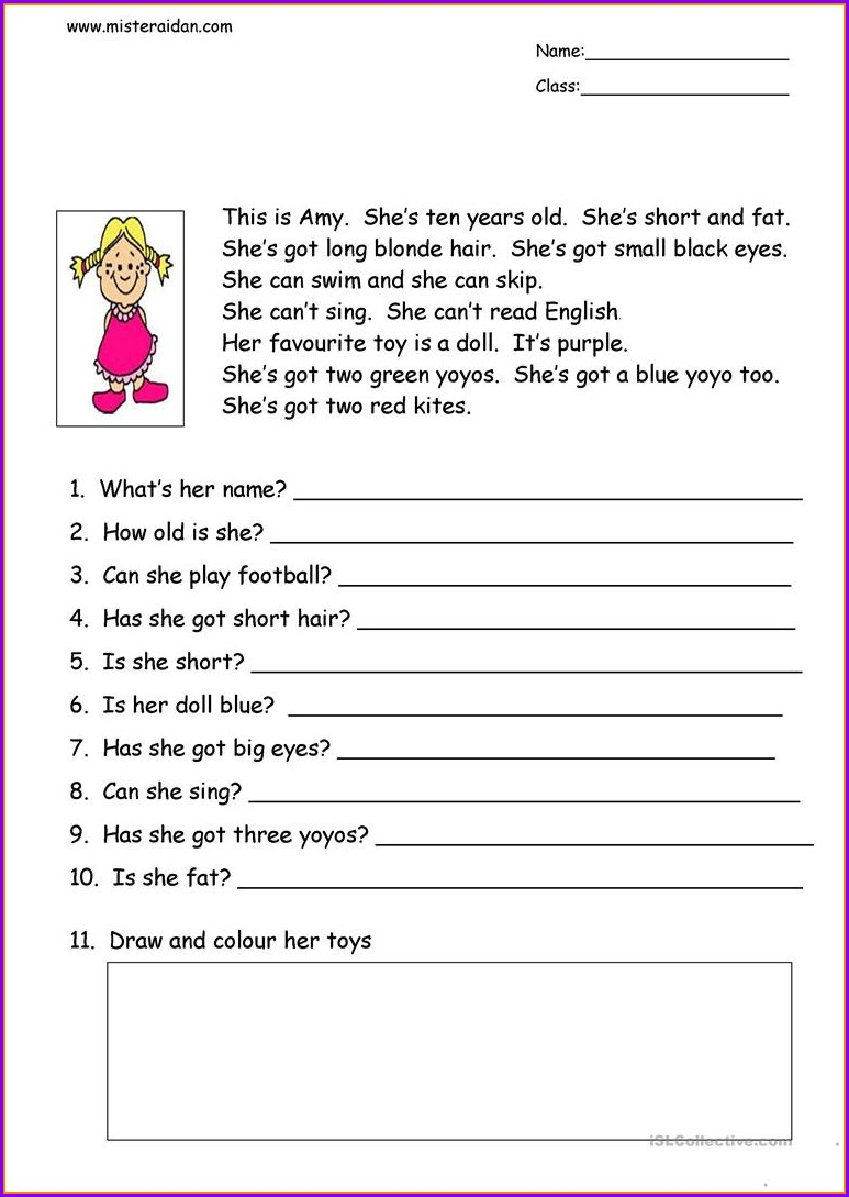 Reading Comprehension Worksheet And Questions