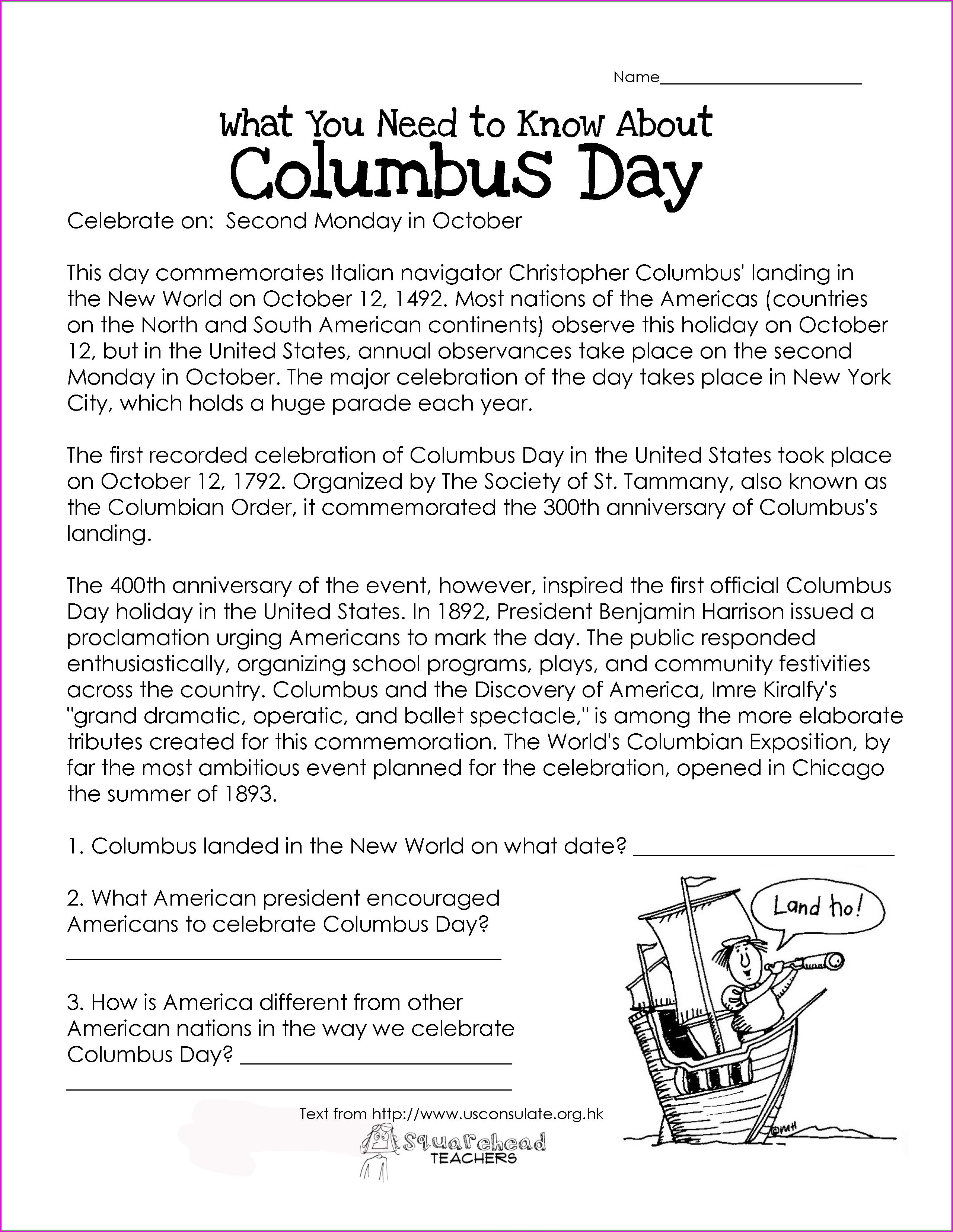 Reading Comprehension Worksheet On Christopher Columbus