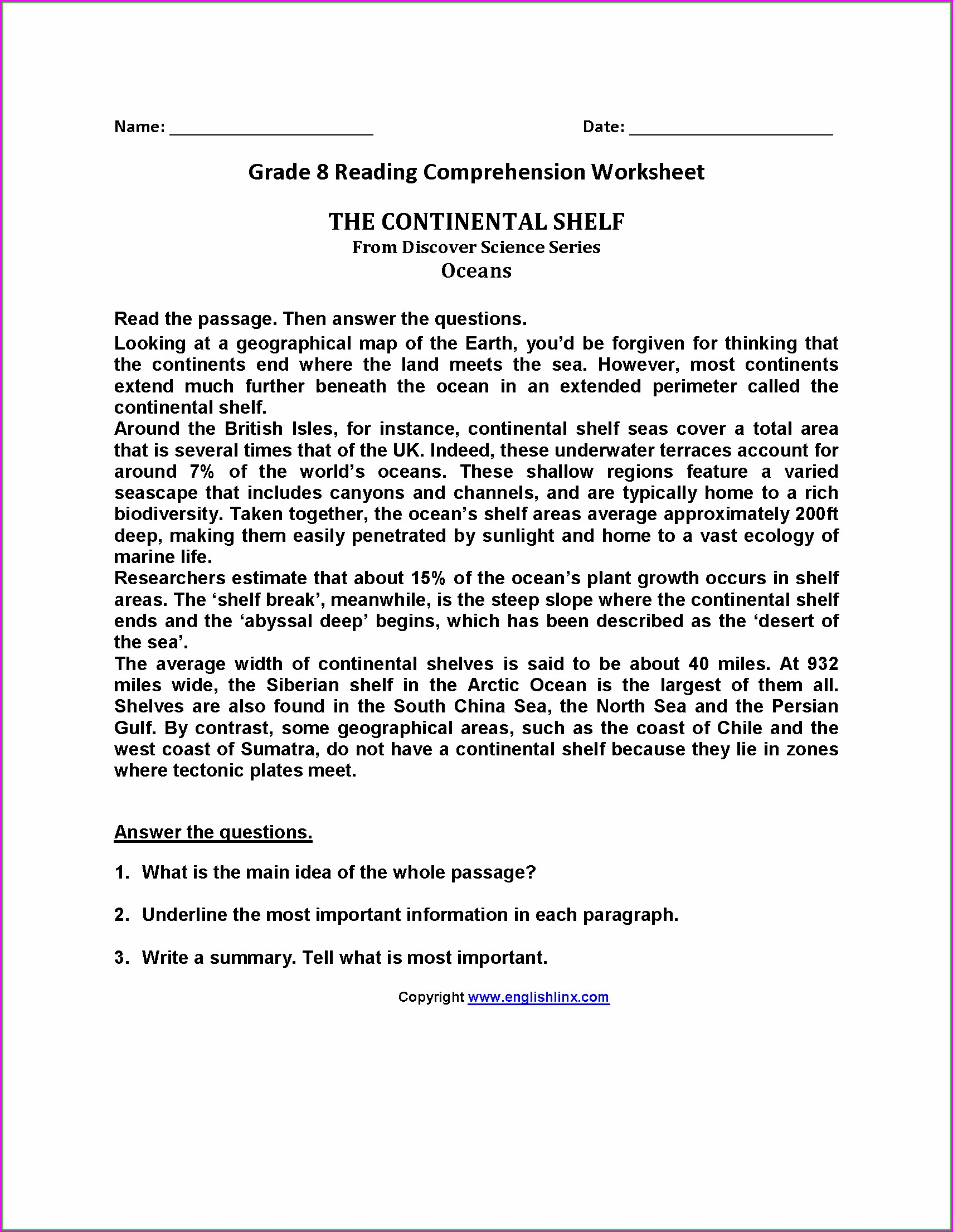 Reading Comprehension Worksheets Word Document