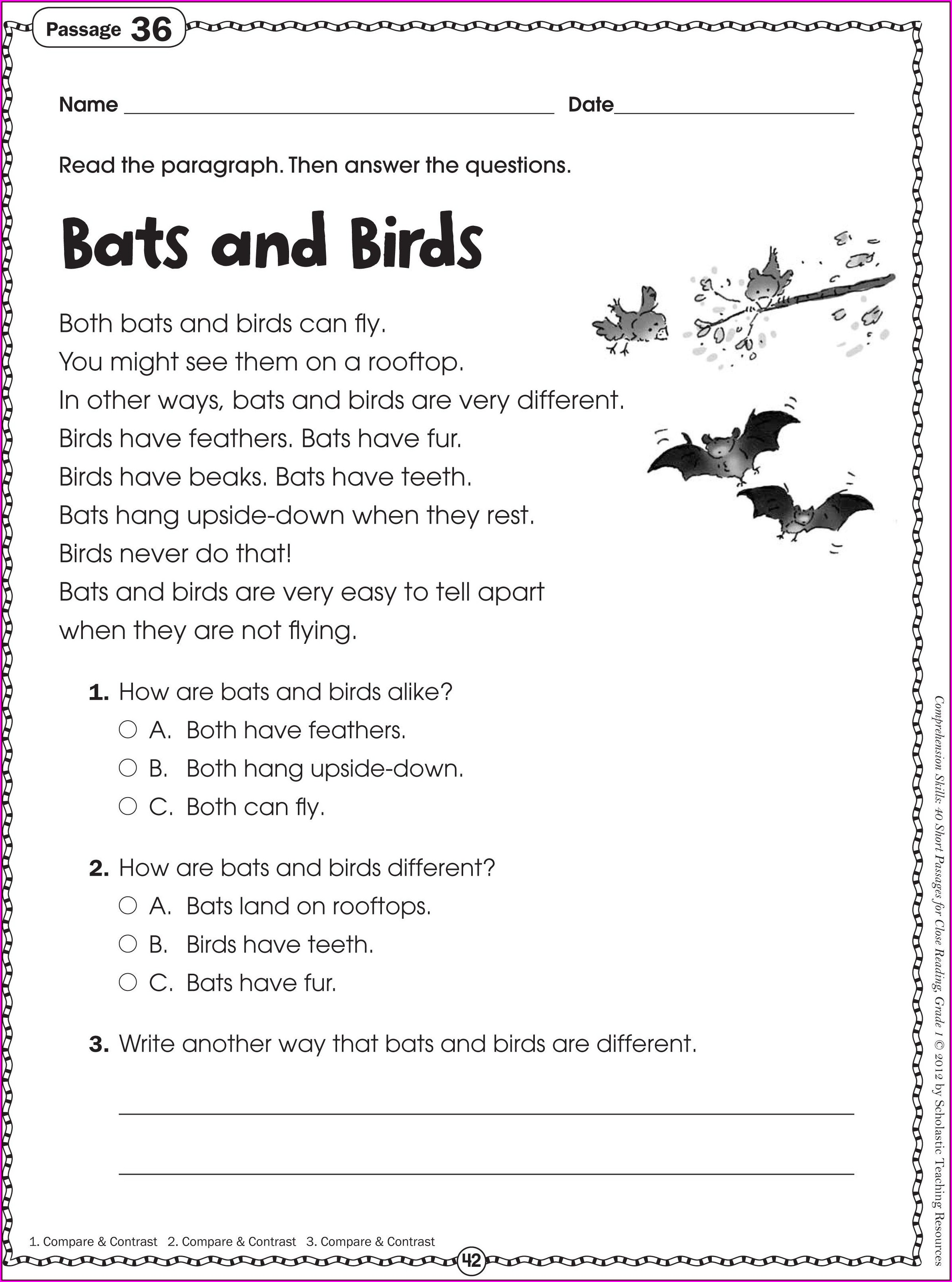 Reading Printable Worksheets For 2nd Grade